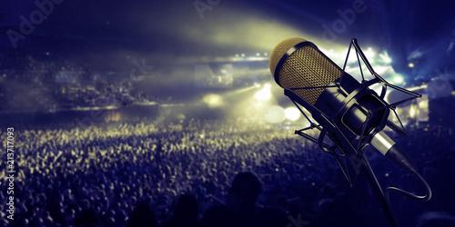 Fototapeta microphone in studio at background 3d illustration