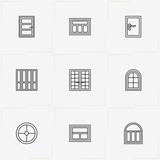 Windows And Doors line icon set with double door, window and round window - 213722297