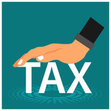 Tax and hand. This theme background is showing the concept of reduce taxes. Flat vector - 213731091