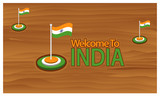 Welcome to India poster with India flag,  time to travel India. vector illustration isolated