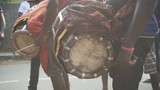 People playing wooden drums at a traditional Sri Lankan parade, slow motion - 213739447