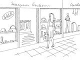 Shopping mall graphic black white interior sketch illustration vector. Woman standing - 213740229