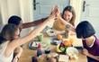 Quadro Diverse women hands together teamwork