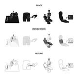 Intramuscular injection, prescription, Dentist, blood pressure measurement. Medicineset collection icons in black,monochrome,outline style vector symbol stock illustration web. - 213747089