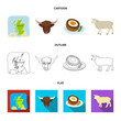 Territory on the map, bull head, cow, eggs. Scotland country set collection icons in cartoon,outline,flat style vector symbol stock illustration web.
