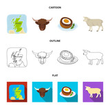 Territory on the map, bull head, cow, eggs. Scotland country set collection icons in cartoon,outline,flat style vector symbol stock illustration web. - 213748206