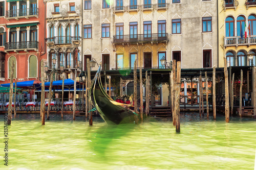Beautiful Grand Canal buildings at summertime in Venice, Italy. - 213748400