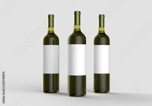 Wine bottle mock up with blank white label. Isolated on light gray background. 3D illustration.