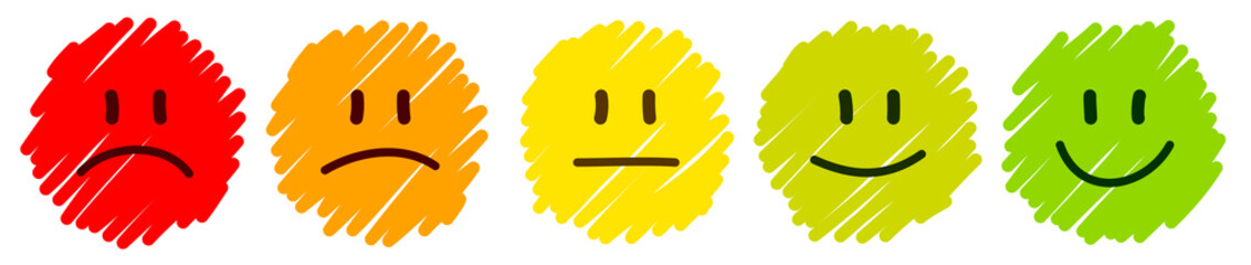 5 Handdrawn Faces Feedback/Mood Color