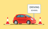 Vector illustration concept driving school car outdoor in flat style