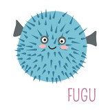 Fugu fish with spikes cartoon childish character