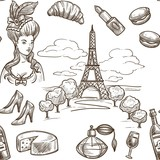 France sketch vector seamless pattern background - 213753236