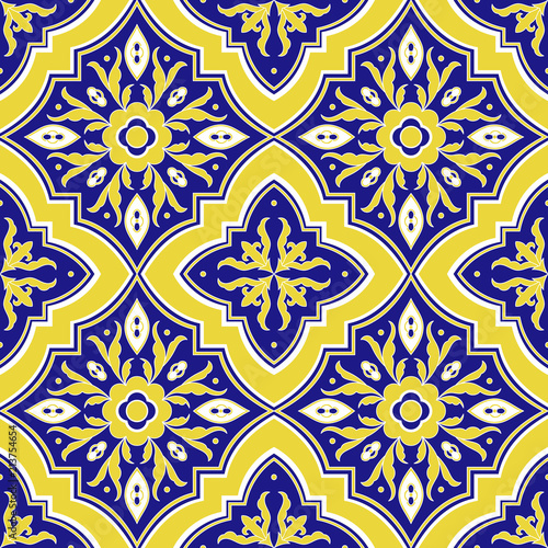 Mexican tile pattern vector seamless with flower ornaments. Portuguese azulejo, puebla talavera, italian majolica, spanish motifs. Tiled texture for ceramic kitchen wall or bathroom mosaic floor. © irinelle