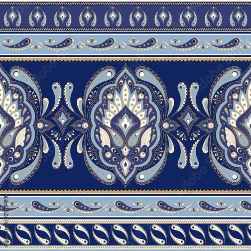 Floral indian paisley pattern vector seamless border. Vintage flower ethnic ornament for indonesia batik sarong fabric. Oriental folk design for blanket, boho clothing, yoga wallpaper, kashmir shawl.