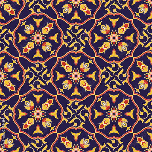 Italian tile pattern vector seamless with flower ornaments. Portuguese azulejo, mexican talavera, italy sicily majolica. Tiled background for mosaic kitchen wall or vintage bathroom floor ceramic.