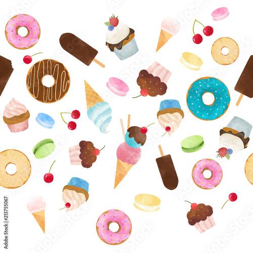 Foto Spatwand Macarons Watercolor sweets vector pattern
