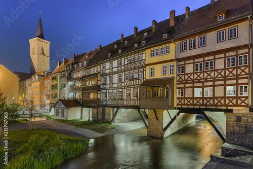Kraemerbruecke Rathaus Erfurt Beleuchtet - 213767068