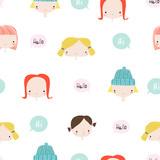 Cute little girls seamless pattern with speech bubbles.  - 213769609