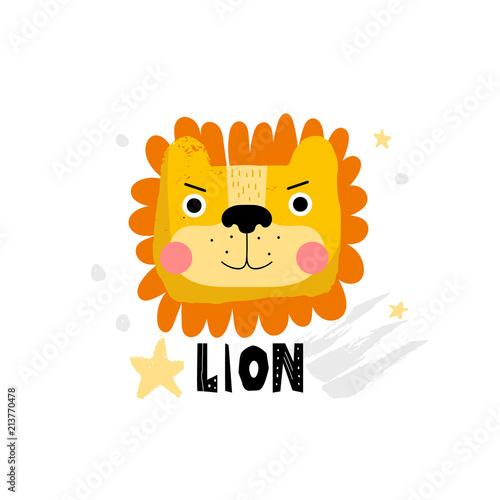 Fototapeta Cute lion face illustration