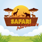 African Safari Adventure Sign with Animals Silhouette - 213771895