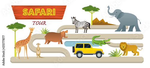 African Safari Animals and Tour Vehicle