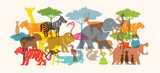 Group of Wild Animals, Zoo, Silhouette, Colourful Shape - 213772477