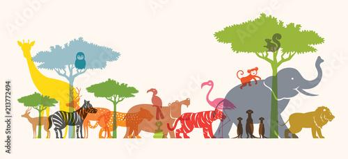 Group of Wild Animals, Zoo, Silhouette, Colourful Shape - 213772494