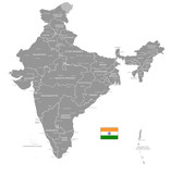 Grey Vector Political Map of India