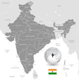 Grey Vector Political Map of India