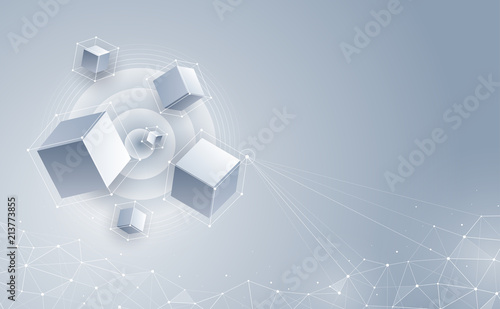 Vector 3d cubic abstract background. Background with connection geometric cubes. Science and technology. Big data and Internet connection. Vector illustration.