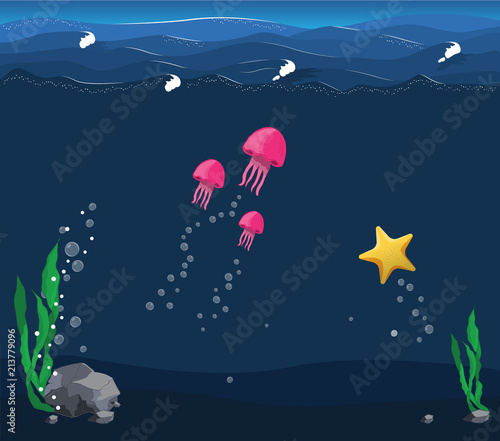 Fototapeta Seascape with the underwater world in deep ocean with wave. Jellyfish and starfish swim under water. There are sea flora and founa