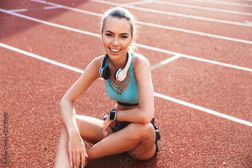 Cheerful young sportsgirl