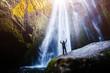 Leinwandbild Motiv Perfect view of famous powerful Gljufrabui waterfall in sunlight.