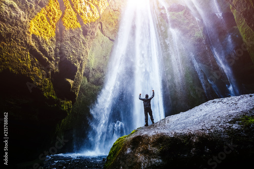 Perfect view of famous powerful Gljufrabui waterfall in sunlight. - 213788862