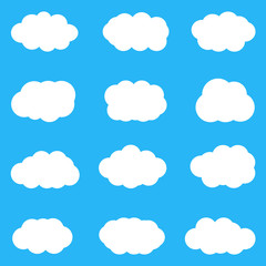 Set of cute white clouds on blue background. Vector, eps10