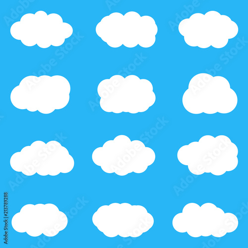 Fototapeta Set of cute white clouds on blue background. Vector, eps10