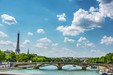 Seine river with world famous Eiffel tower on the background