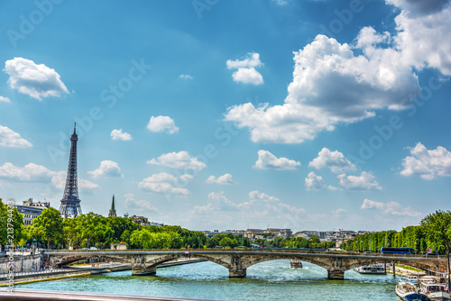Seine river with world famous Eiffel tower on the background - 213794433