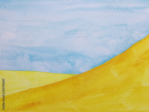watercolor illustration hand drawn landscape desert with blue sky. © atichat