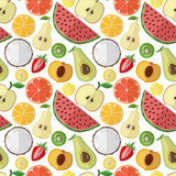 Vector illustration of a collection of fruits on a light background. Bright seamless pattern.