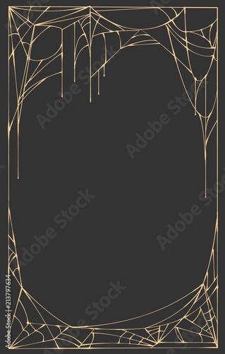 Fototapeta Spider web frame rectangle on black background