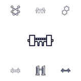 Collection of 7 suspension outline icons - 213799291