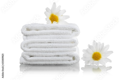 Fotobehang Spa Towels with Flowers