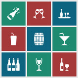 Collection of 9 wine filled icons - 213811863