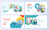 Set of web page design templates for e-learning, online education, e-book. Modern vector illustration concepts for website and mobile website development.  - 213816032