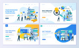 Set of web page design templates for education, know how, university, business solutions. Modern vector illustration concepts for website and mobile website development.  - 213817441