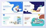 Set of web page design templates for online education, training and courses, learning, video tutorials. Modern vector illustration concepts for website and mobile website development.  - 213817614