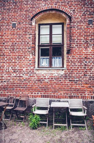 Foto Murales Building of red brick, traditional Scandinavian architecture, Helsinki, Finland
