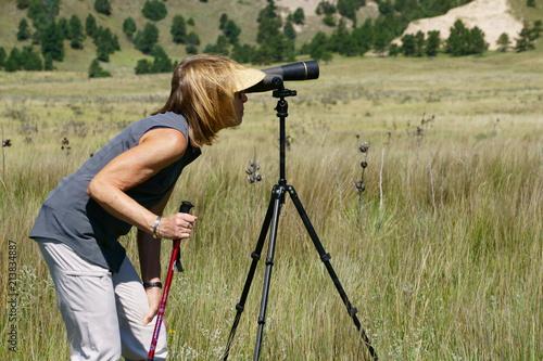 Foto Murales Woman looking thru a spotting scope at Big Horn Sheep
