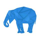 Blue elephant. Polygonal